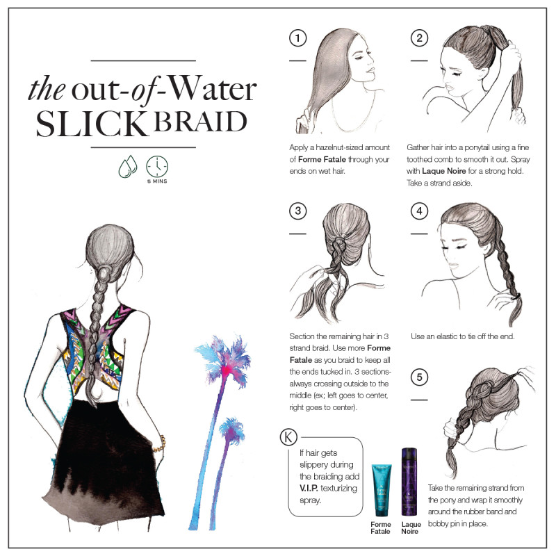 slick wet braid hairstyle